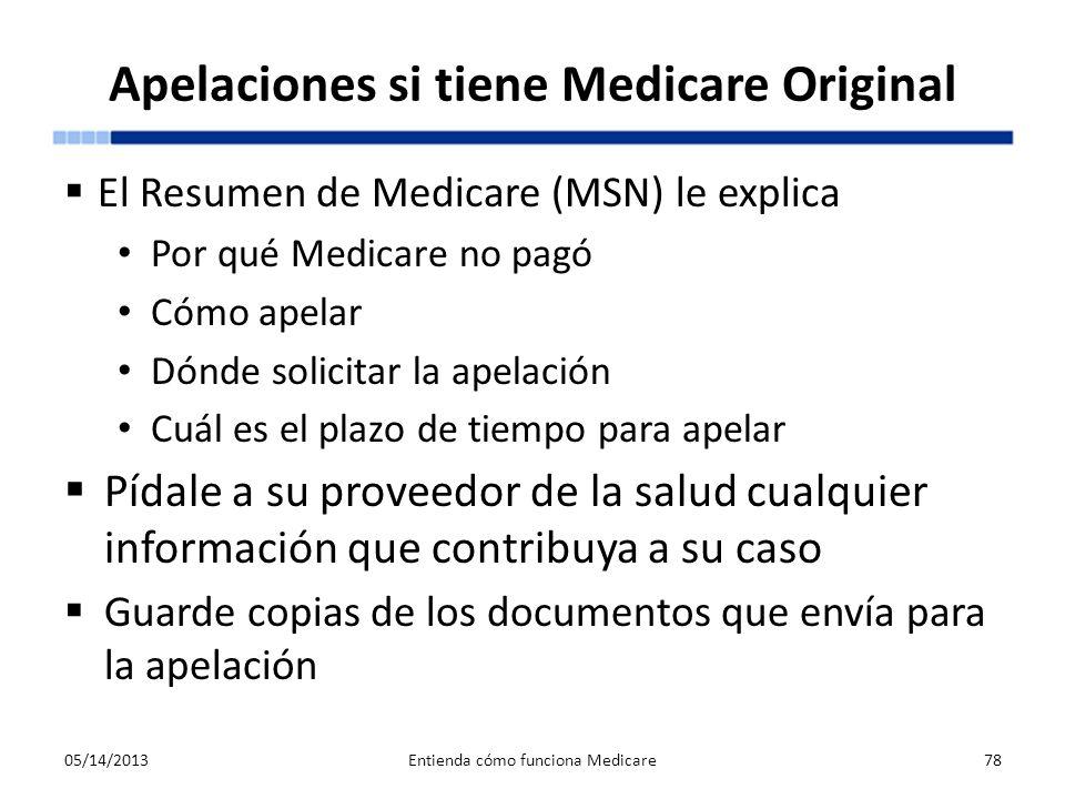 Apelaciones si tiene Medicare Original El Resumen de Medicare (MSN) le explica Por qué Medicare no pagó Cómo apelar Dónde solicitar la apelación Cuál