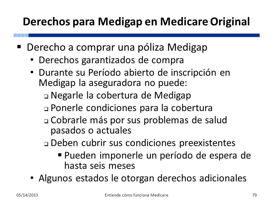 Derechos para Medigap en Medicare Original Derecho a comprar una póliza Medigap Derechos garantizados de compra Durante su Período abierto de inscripc