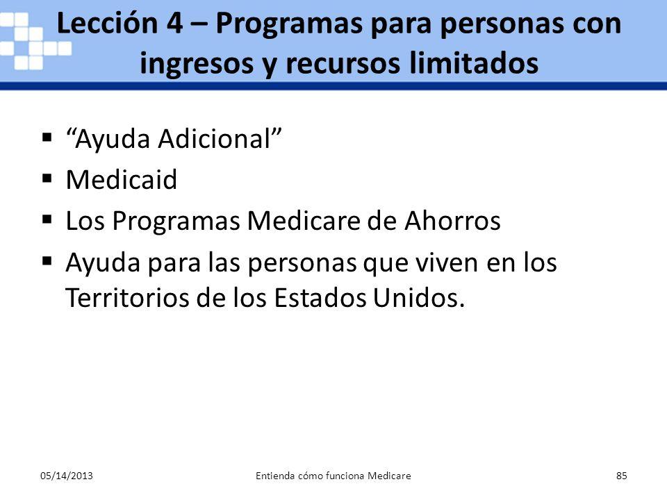 05/14/2013Entienda cómo funciona Medicare85 Lección 4 – Programas para personas con ingresos y recursos limitados Ayuda Adicional Medicaid Los Program