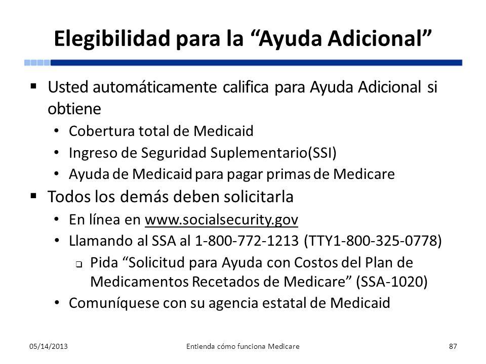 Elegibilidad para la Ayuda Adicional Usted automáticamente califica para Ayuda Adicional si obtiene Cobertura total de Medicaid Ingreso de Seguridad S
