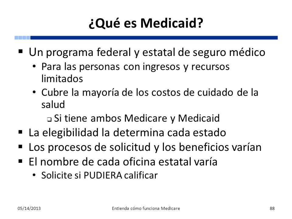¿Qué es Medicaid? U n programa federal y estatal de seguro médico Para las personas con ingresos y recursos limitados Cubre la mayoría de los costos d