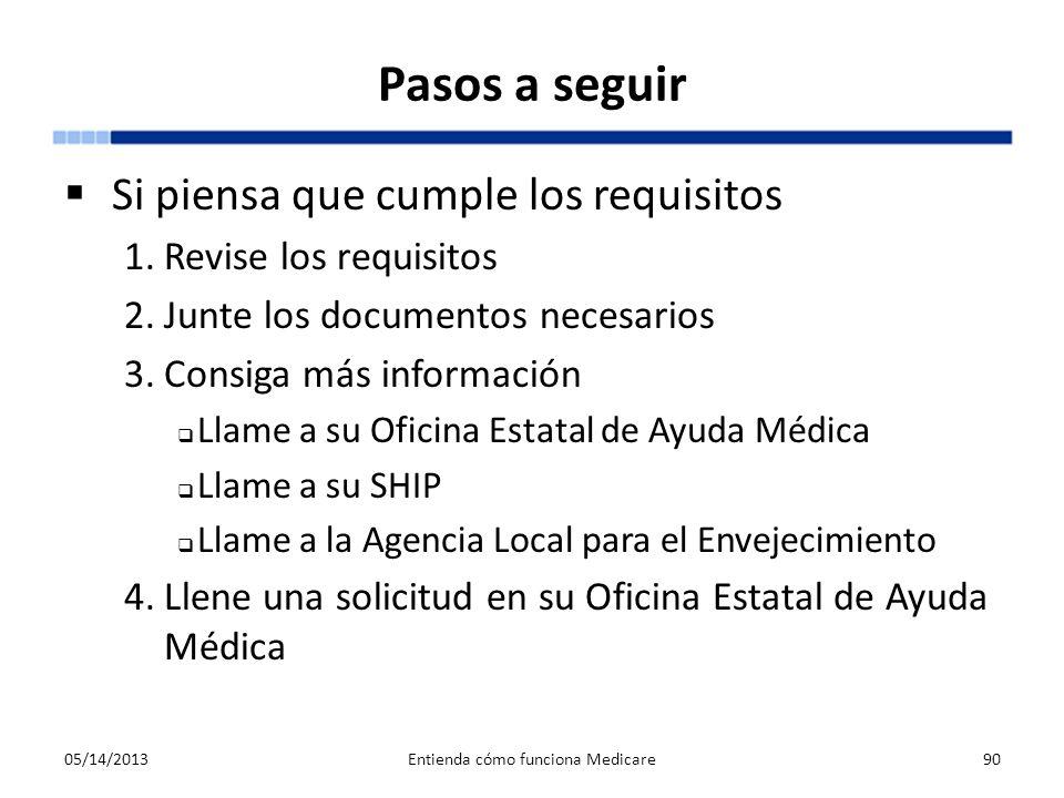 Pasos a seguir Si piensa que cumple los requisitos 1.Revise los requisitos 2.Junte los documentos necesarios 3.Consiga más información Llame a su Ofic