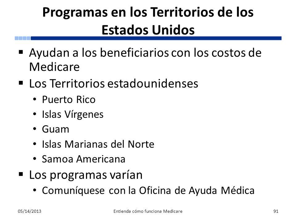 Programas en los Territorios de los Estados Unidos Ayudan a los beneficiarios con los costos de Medicare Los Territorios estadounidenses Puerto Rico I