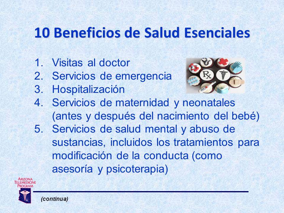 1.Visitas al doctor 2.Servicios de emergencia 3.Hospitalización 4.Servicios de maternidad y neonatales (antes y después del nacimiento del bebé) 5.Servicios de salud mental y abuso de sustancias, incluidos los tratamientos para modificación de la conducta (como asesoría y psicoterapia) (continua) 10 Beneficios de Salud Esenciales