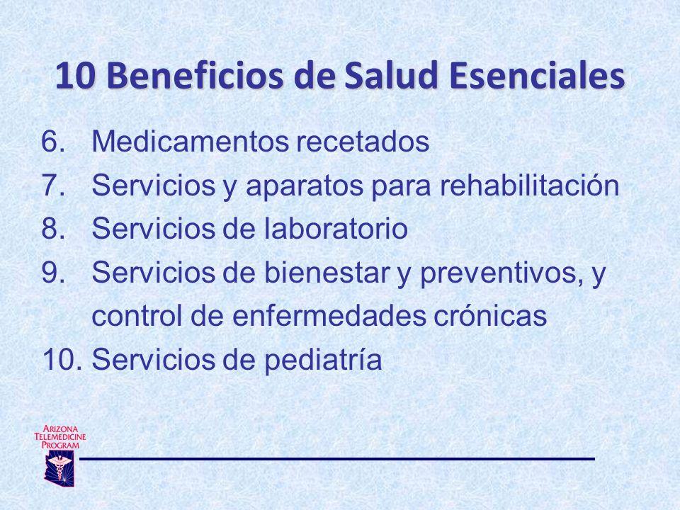 6.Medicamentos recetados 7. Servicios y aparatos para rehabilitación 8.