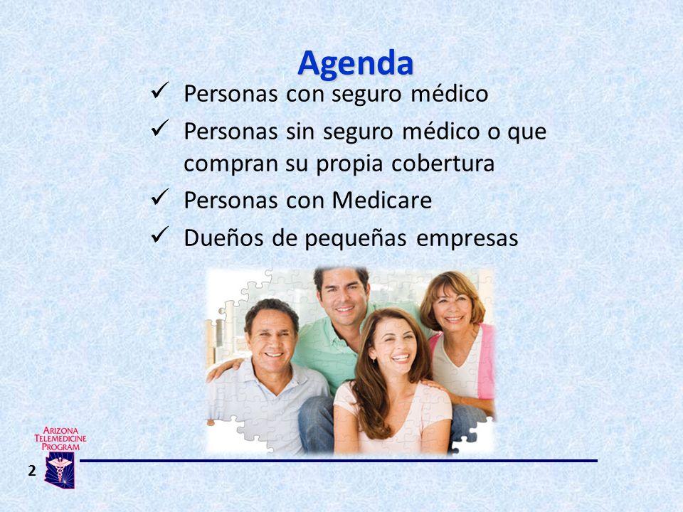 2 Personas con seguro médico Personas sin seguro médico o que compran su propia cobertura Personas con Medicare Dueños de pequeñas empresas Agenda