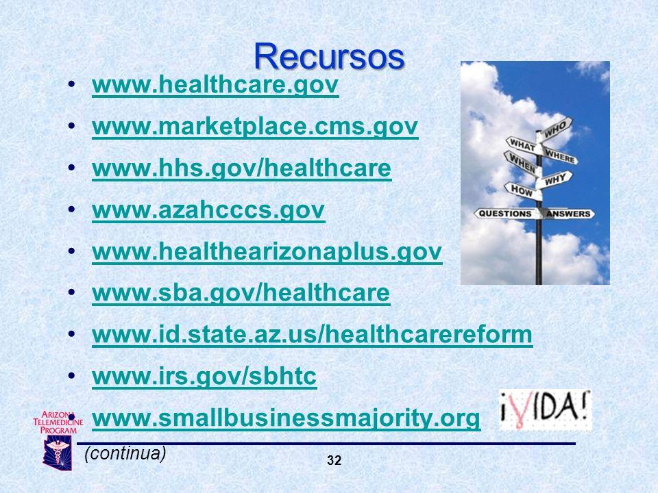 32 Recursos www.healthcare.gov www.marketplace.cms.gov www.hhs.gov/healthcare www.azahcccs.gov www.healthearizonaplus.gov www.sba.gov/healthcare www.id.state.az.us/healthcarereform www.irs.gov/sbhtc www.smallbusinessmajority.org (continua)