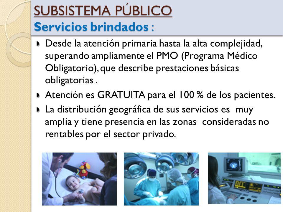 SUBSISTEMA PÚBLICO Servicios brindados : Desde la atención primaria hasta la alta complejidad, superando ampliamente el PMO (Programa Médico Obligator
