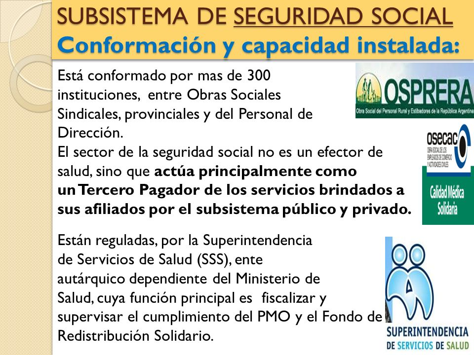 SUBSISTEMA DE SEGURIDAD SOCIAL Conformación y capacidad instalada: Está conformado por mas de 300 instituciones, entre Obras Sociales Sindicales, prov