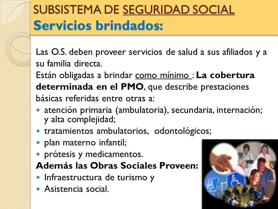 SUBSISTEMA DE SEGURIDAD SOCIAL Servicios brindados: Las O.S. deben proveer servicios de salud a sus afiliados y a su familia directa. Están obligadas