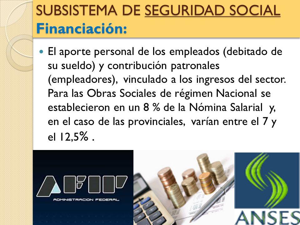 SUBSISTEMA DE SEGURIDAD SOCIAL Financiación: El aporte personal de los empleados (debitado de su sueldo) y contribución patronales (empleadores), vinc