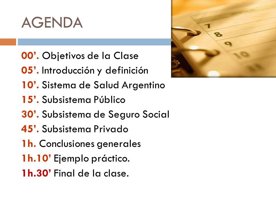 AGENDA 00. Objetivos de la Clase 05. Introducción y definición 10. Sistema de Salud Argentino 15. Subsistema Público 30. Subsistema de Seguro Social 4
