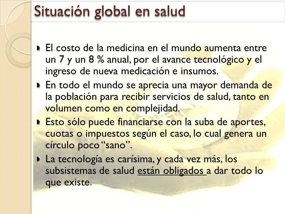 Situación global en salud El costo de la medicina en el mundo aumenta entre un 7 y un 8 % anual, por el avance tecnológico y el ingreso de nueva medic