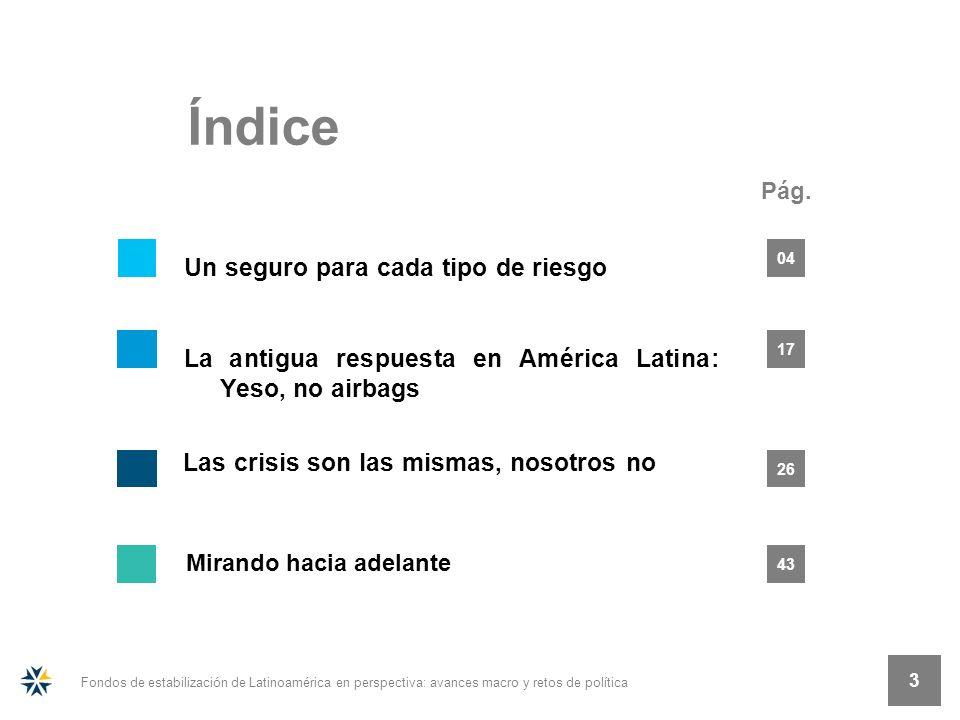 Pág. Índice 3 Fondos de estabilización de Latinoamérica en perspectiva: avances macro y retos de política 3 26 17 04 43 Las crisis son las mismas, nos