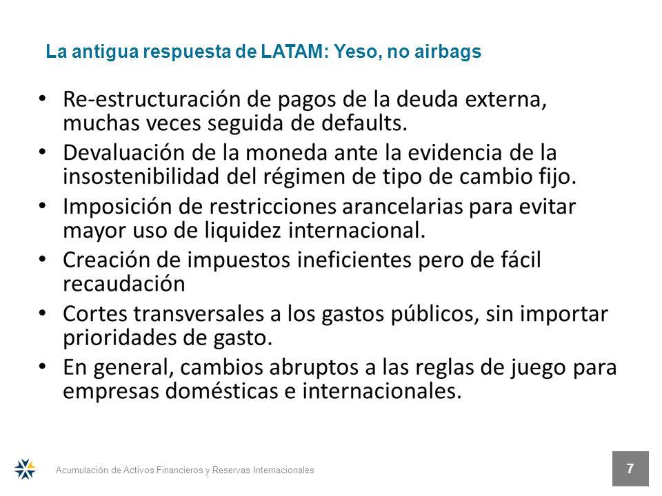 Acumulación de Activos Financieros y Reservas Internacionales 7 La antigua respuesta de LATAM: Yeso, no airbags
