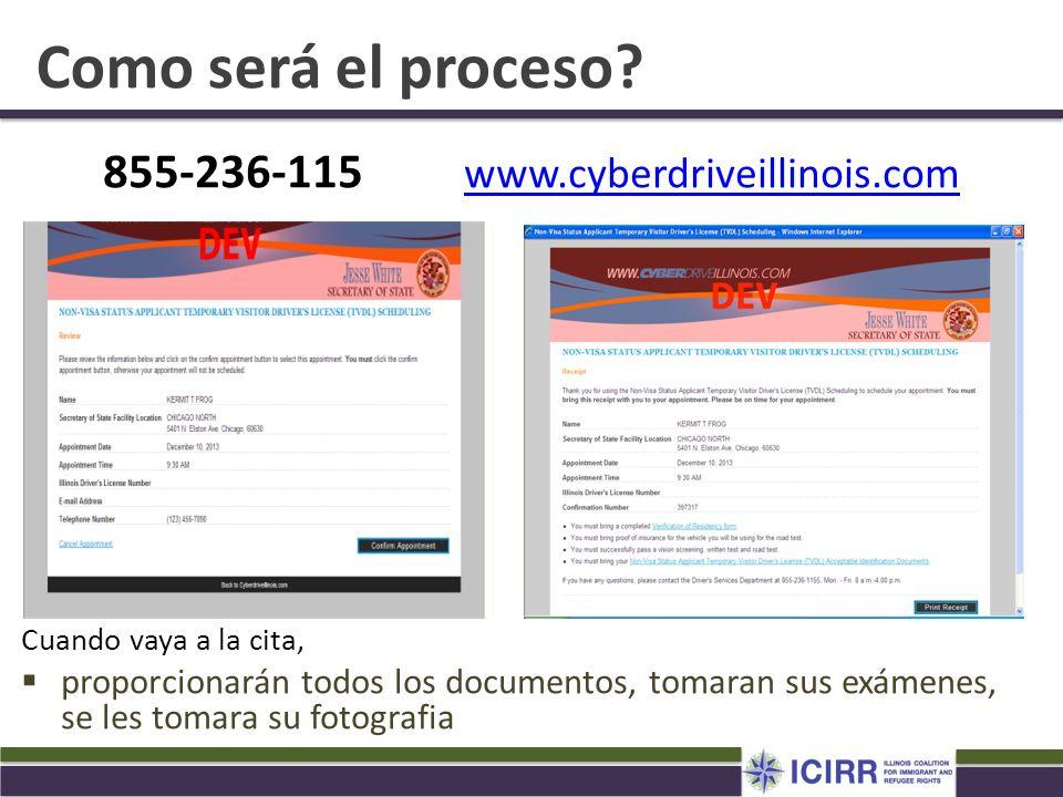 Como será el proceso? 855-236-115 www.cyberdriveillinois.com www.cyberdriveillinois.com Cuando vaya a la cita, proporcionarán todos los documentos, to