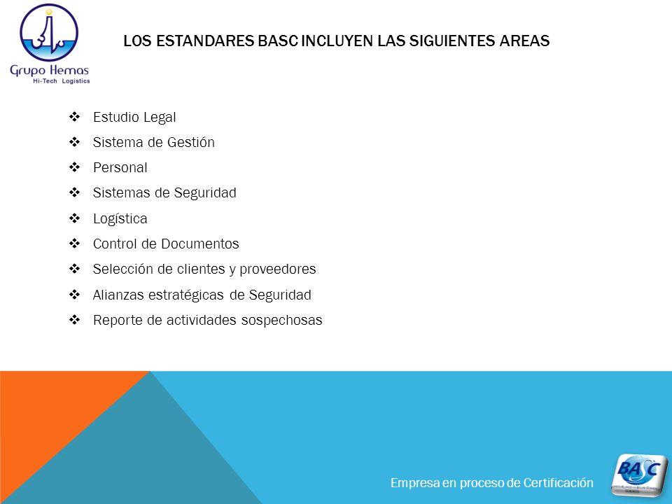 Empresa en proceso de Certificación LOS ESTANDARES BASC INCLUYEN LAS SIGUIENTES AREAS Estudio Legal Sistema de Gestión Personal Sistemas de Seguridad
