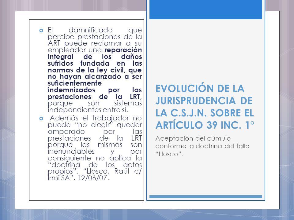 El damnificado que percibe prestaciones de la ART puede reclamar a su empleador una reparación integral de los daños sufridos fundada en las normas de la ley civil, que no hayan alcanzado a ser suficientemente indemnizados por las prestaciones de la LRT, porque son sistemas independientes entre sí.