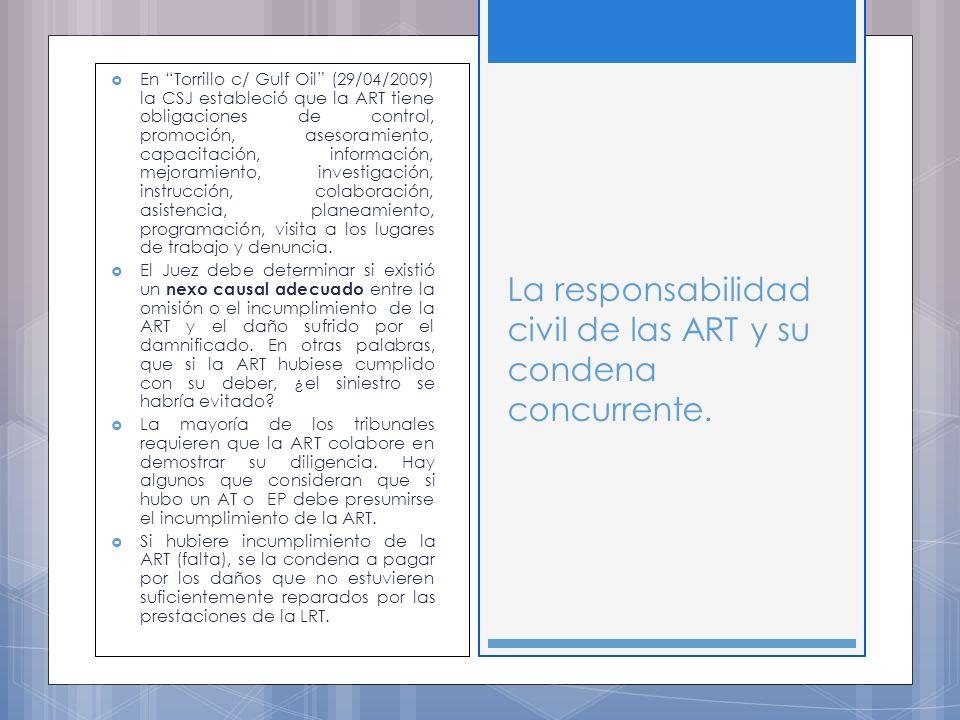 En Torrillo c/ Gulf Oil (29/04/2009) la CSJ estableció que la ART tiene obligaciones de control, promoción, asesoramiento, capacitación, información, mejoramiento, investigación, instrucción, colaboración, asistencia, planeamiento, programación, visita a los lugares de trabajo y denuncia.