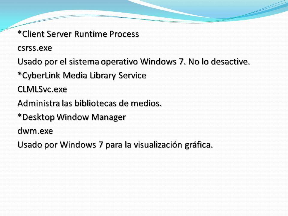 *Client Server Runtime Process csrss.exe Usado por el sistema operativo Windows 7.