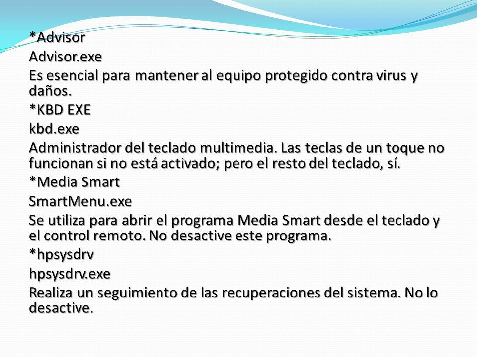 *AdvisorAdvisor.exe Es esencial para mantener al equipo protegido contra virus y daños.
