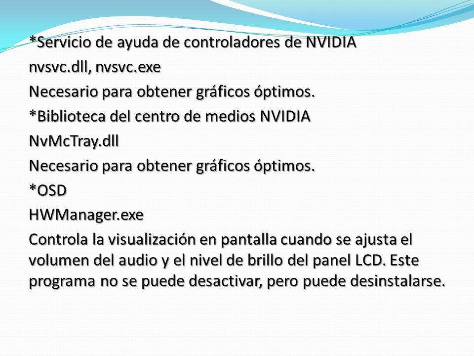 *Servicio de ayuda de controladores de NVIDIA nvsvc.dll, nvsvc.exe Necesario para obtener gráficos óptimos.