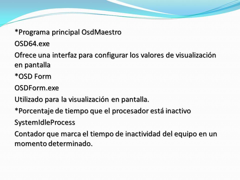 *Programa principal OsdMaestro OSD64.exe Ofrece una interfaz para configurar los valores de visualización en pantalla *OSD Form OSDForm.exe Utilizado para la visualización en pantalla.