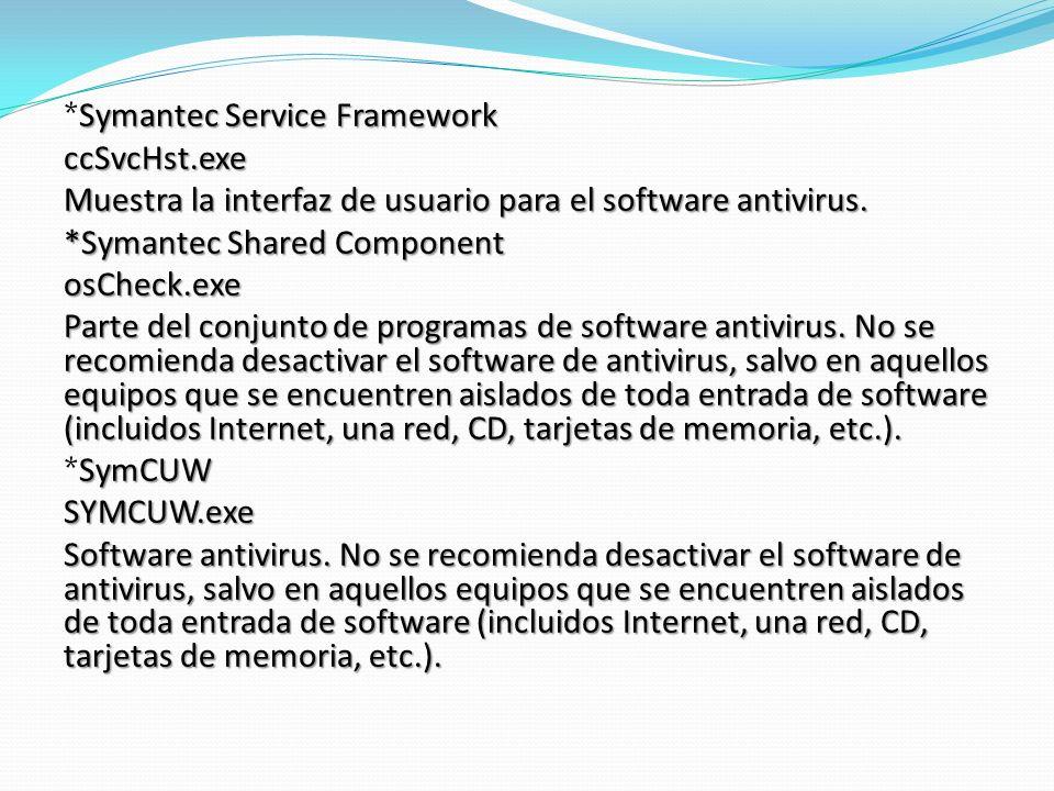 Symantec Service Framework *Symantec Service FrameworkccSvcHst.exe Muestra la interfaz de usuario para el software antivirus.