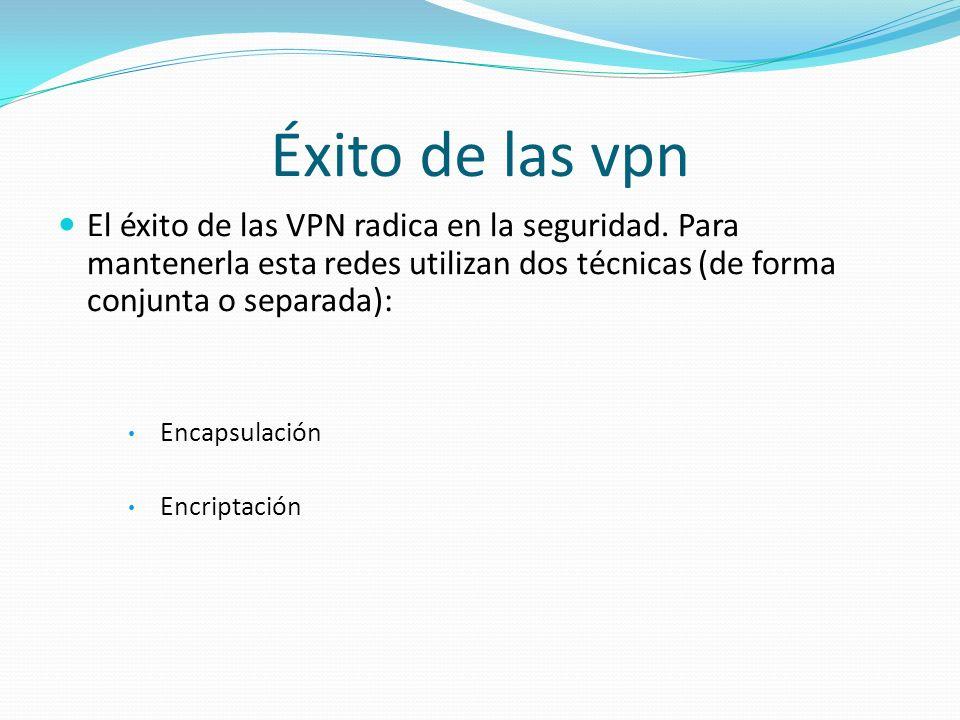 Éxito de las vpn El éxito de las VPN radica en la seguridad. Para mantenerla esta redes utilizan dos técnicas (de forma conjunta o separada): Encapsul