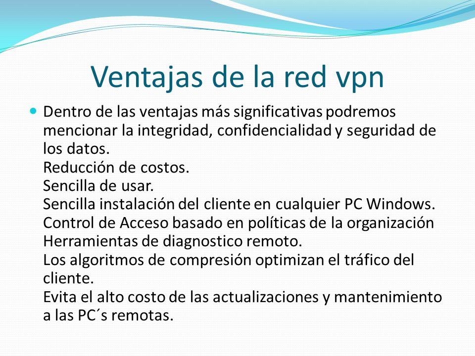 Ventajas de la red vpn Dentro de las ventajas más significativas podremos mencionar la integridad, confidencialidad y seguridad de los datos. Reducció