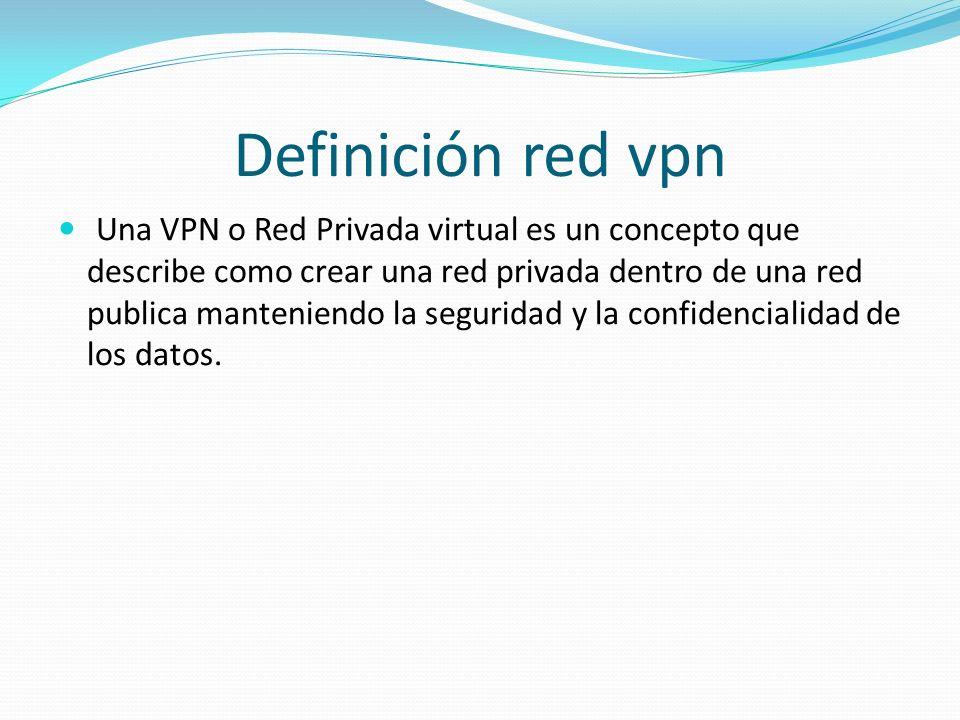 Definición red vpn Una VPN o Red Privada virtual es un concepto que describe como crear una red privada dentro de una red publica manteniendo la segur