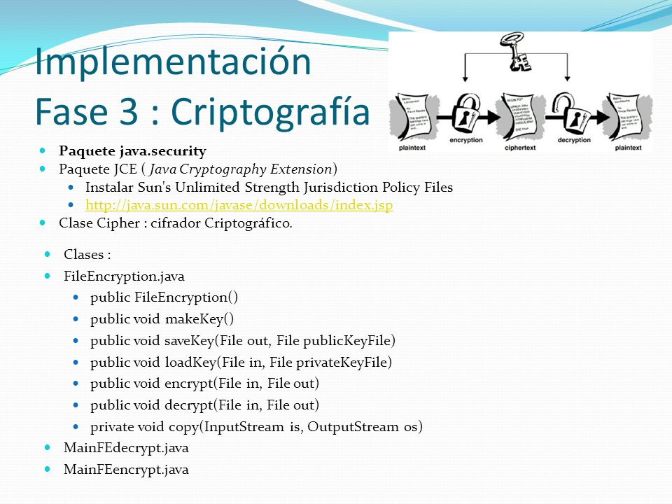 Implementación Fase 3 : Criptografía Clases : FileEncryption.java public FileEncryption() public void makeKey() public void saveKey(File out, File publicKeyFile) public void loadKey(File in, File privateKeyFile) public void encrypt(File in, File out) public void decrypt(File in, File out) private void copy(InputStream is, OutputStream os) MainFEdecrypt.java MainFEencrypt.java Paquete java.security Paquete JCE ( Java Cryptography Extension) Instalar Sun s Unlimited Strength Jurisdiction Policy Files http://java.sun.com/javase/downloads/index.jsp Clase Cipher : cifrador Criptográfico.
