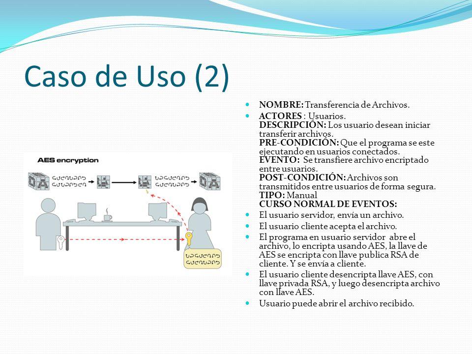 Caso de Uso (2) NOMBRE: Transferencia de Archivos. ACTORES : Usuarios. DESCRIPCIÓN: Los usuario desean iniciar transferir archivos. PRE-CONDICIÓN: Que