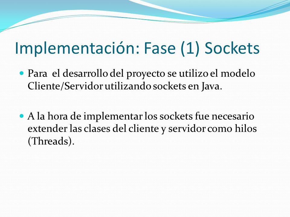 Implementación: Fase (1) Sockets Para el desarrollo del proyecto se utilizo el modelo Cliente/Servidor utilizando sockets en Java. A la hora de implem