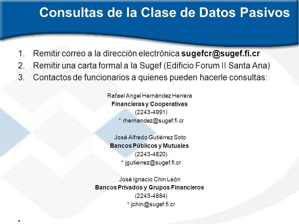 Consultas de la Clase de Datos Pasivos 1.Remitir correo a la dirección electrónica sugefcr@sugef.fi.cr 2.Remitir una carta formal a la Sugef (Edificio
