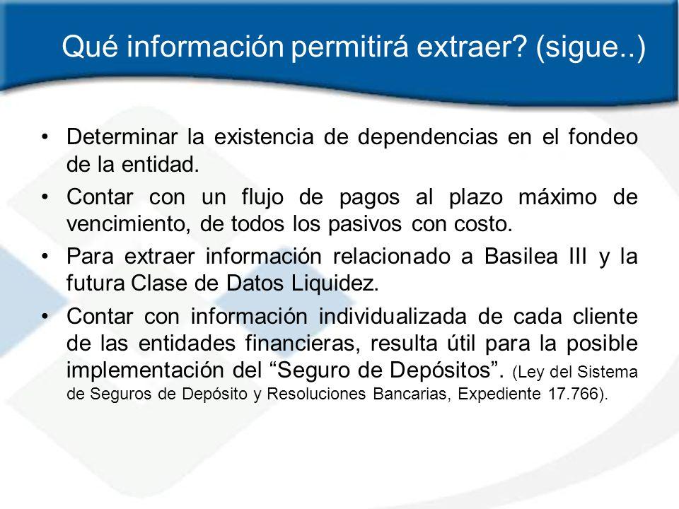 Qué información permitirá extraer? (sigue..) Determinar la existencia de dependencias en el fondeo de la entidad. Contar con un flujo de pagos al plaz