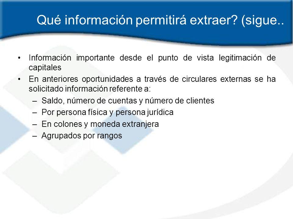 Qué información permitirá extraer? (sigue.. Información importante desde el punto de vista legitimación de capitales En anteriores oportunidades a tra