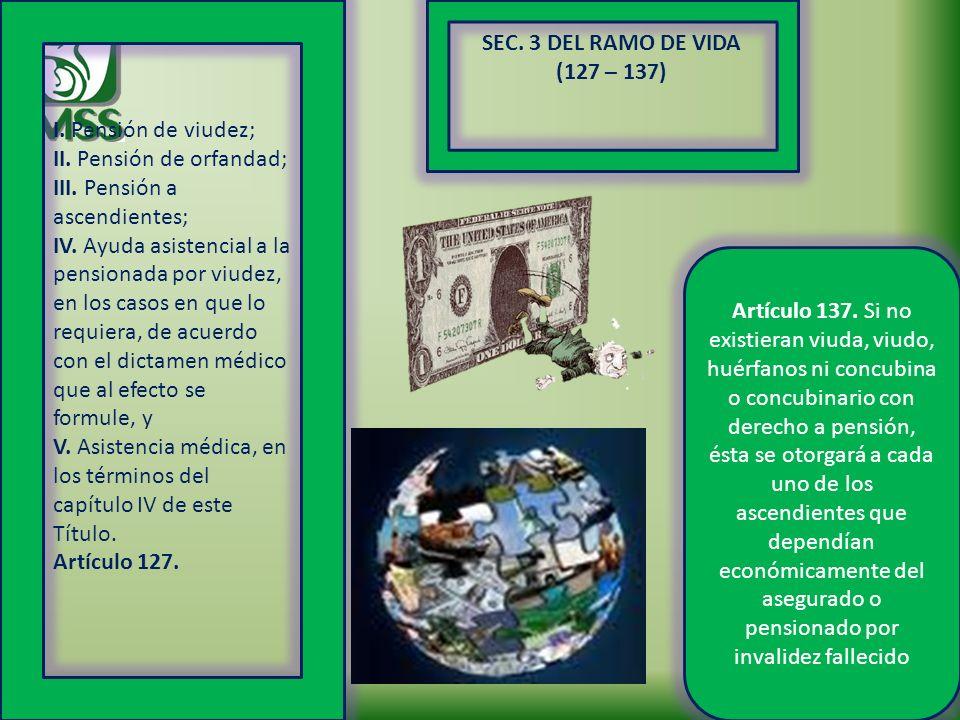 SEC. 3 DEL RAMO DE VIDA (127 – 137) I. Pensión de viudez; II. Pensión de orfandad; III. Pensión a ascendientes; IV. Ayuda asistencial a la pensionada
