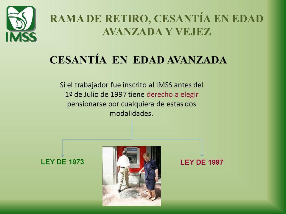 CESANTÍA EN EDAD AVANZADA RAMA DE RETIRO, CESANTÍA EN EDAD AVANZADA Y VEJEZ Si el trabajador fue inscrito al IMSS antes del 1º de Julio de 1997 tiene
