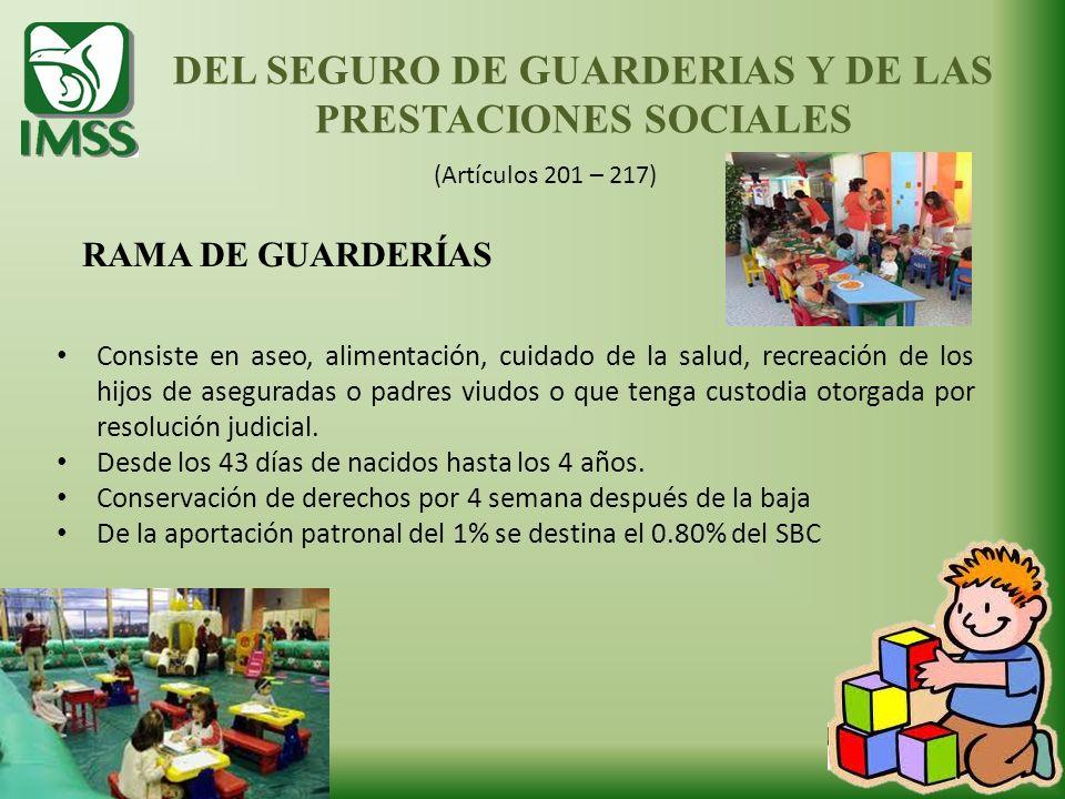 DEL SEGURO DE GUARDERIAS Y DE LAS PRESTACIONES SOCIALES (Artículos 201 – 217) RAMA DE GUARDERÍAS Consiste en aseo, alimentación, cuidado de la salud,