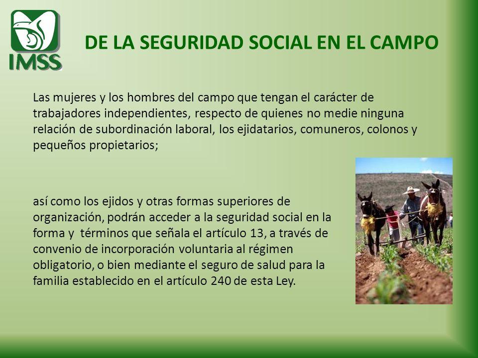 DE LA SEGURIDAD SOCIAL EN EL CAMPO Las mujeres y los hombres del campo que tengan el carácter de trabajadores independientes, respecto de quienes no m