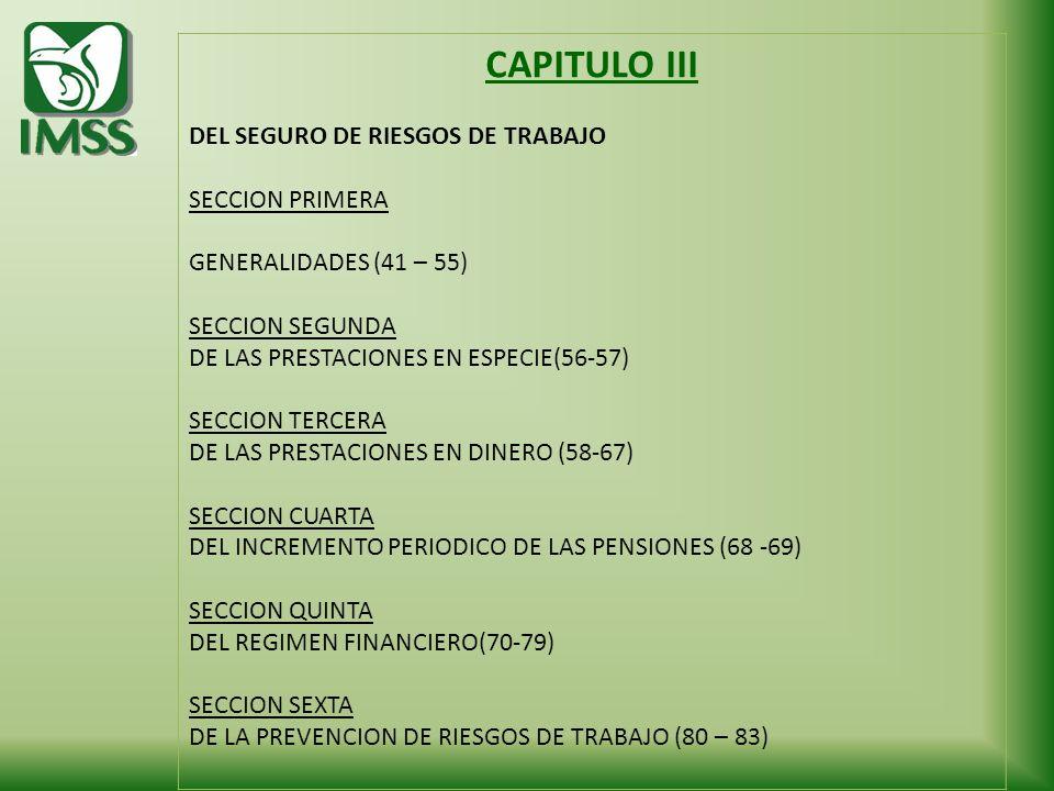 CAPITULO III DEL SEGURO DE RIESGOS DE TRABAJO SECCION PRIMERA GENERALIDADES (41 – 55) SECCION SEGUNDA DE LAS PRESTACIONES EN ESPECIE(56-57) SECCION TE
