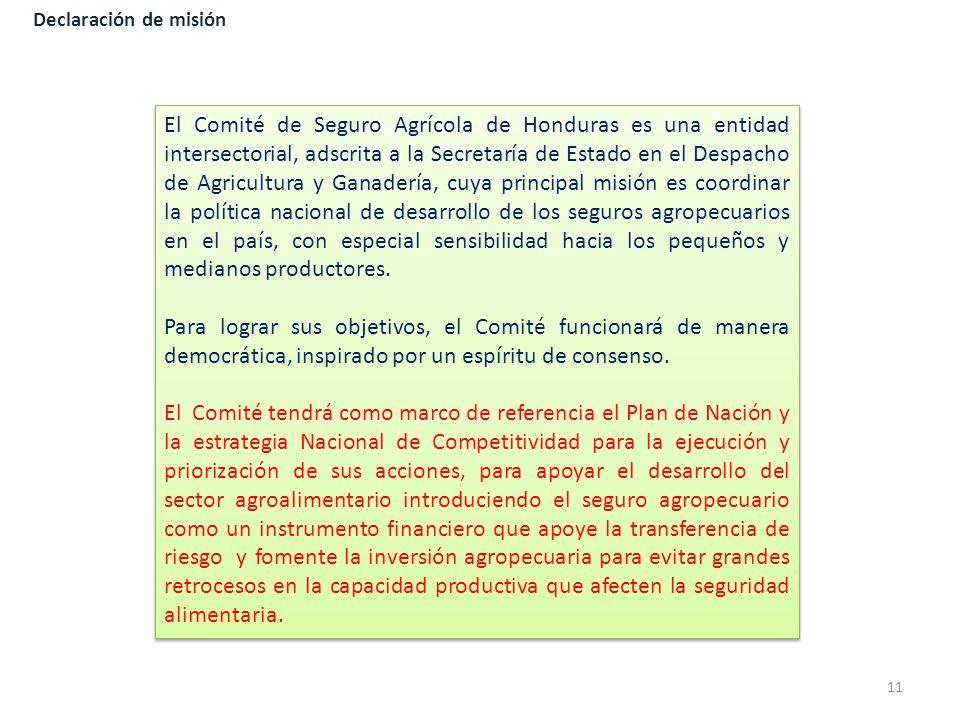 Declaración de misión El Comité de Seguro Agrícola de Honduras es una entidad intersectorial, adscrita a la Secretaría de Estado en el Despacho de Agr