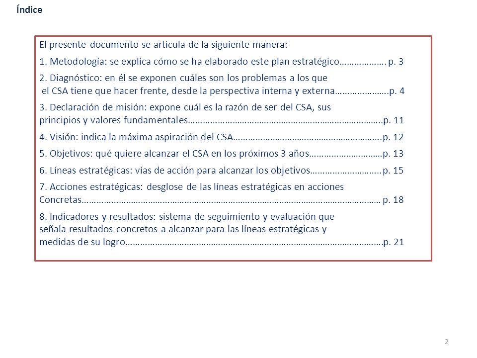 El presente documento se articula de la siguiente manera: 1. Metodología: se explica cómo se ha elaborado este plan estratégico……………….p. 3 2. Diagnóst