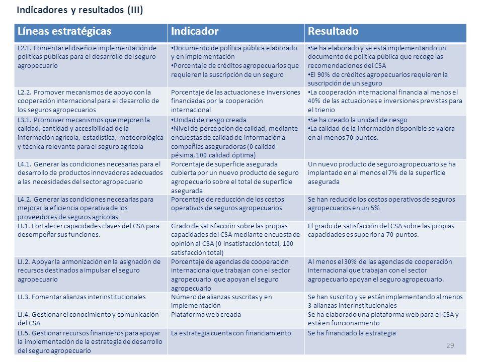 Indicadores y resultados (III) Líneas estratégicasIndicadorResultado L2.1. Fomentar el diseño e implementación de políticas públicas para el desarroll