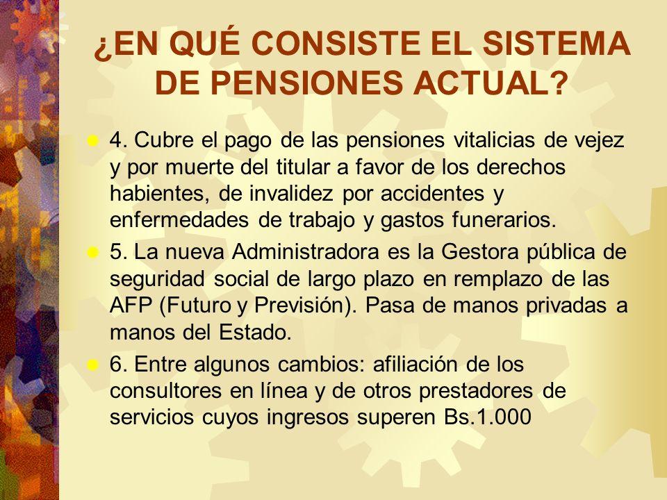 ¿EN QUÉ CONSISTE EL SISTEMA DE PENSIONES ACTUAL? 4. Cubre el pago de las pensiones vitalicias de vejez y por muerte del titular a favor de los derecho