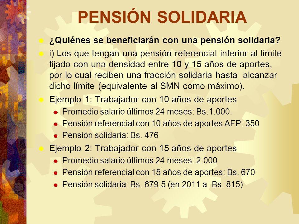 PENSIÓN SOLIDARIA ¿Quiénes se beneficiarán con una pensión solidaria? i) Los que tengan una pensión referencial inferior al límite fijado con una dens