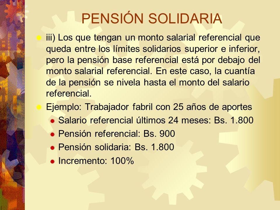 PENSIÓN SOLIDARIA iii) Los que tengan un monto salarial referencial que queda entre los límites solidarios superior e inferior, pero la pensión base r