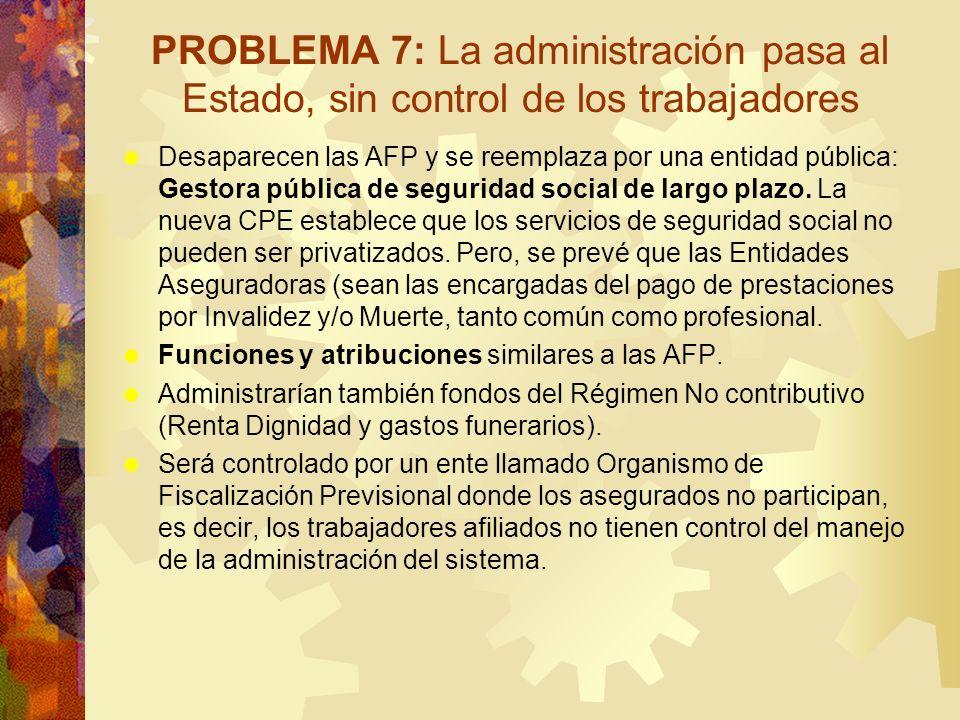 PROBLEMA 7: La administración pasa al Estado, sin control de los trabajadores Desaparecen las AFP y se reemplaza por una entidad pública: Gestora públ