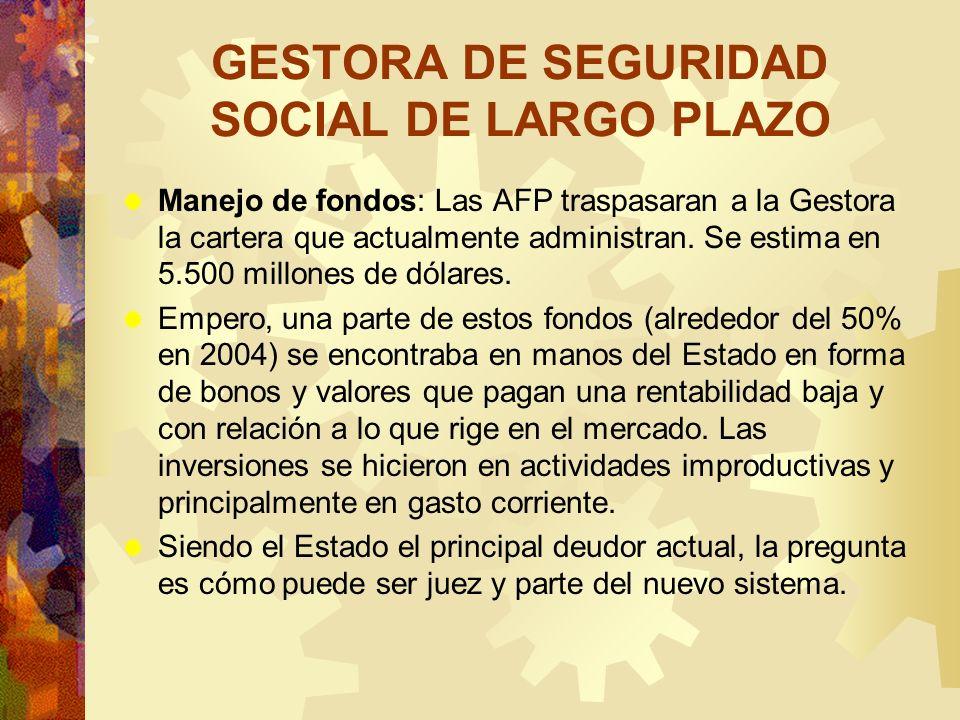 GESTORA DE SEGURIDAD SOCIAL DE LARGO PLAZO Manejo de fondos: Las AFP traspasaran a la Gestora la cartera que actualmente administran. Se estima en 5.5